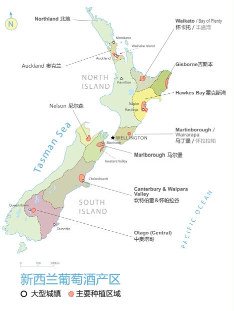 新西兰葡萄酒产区图